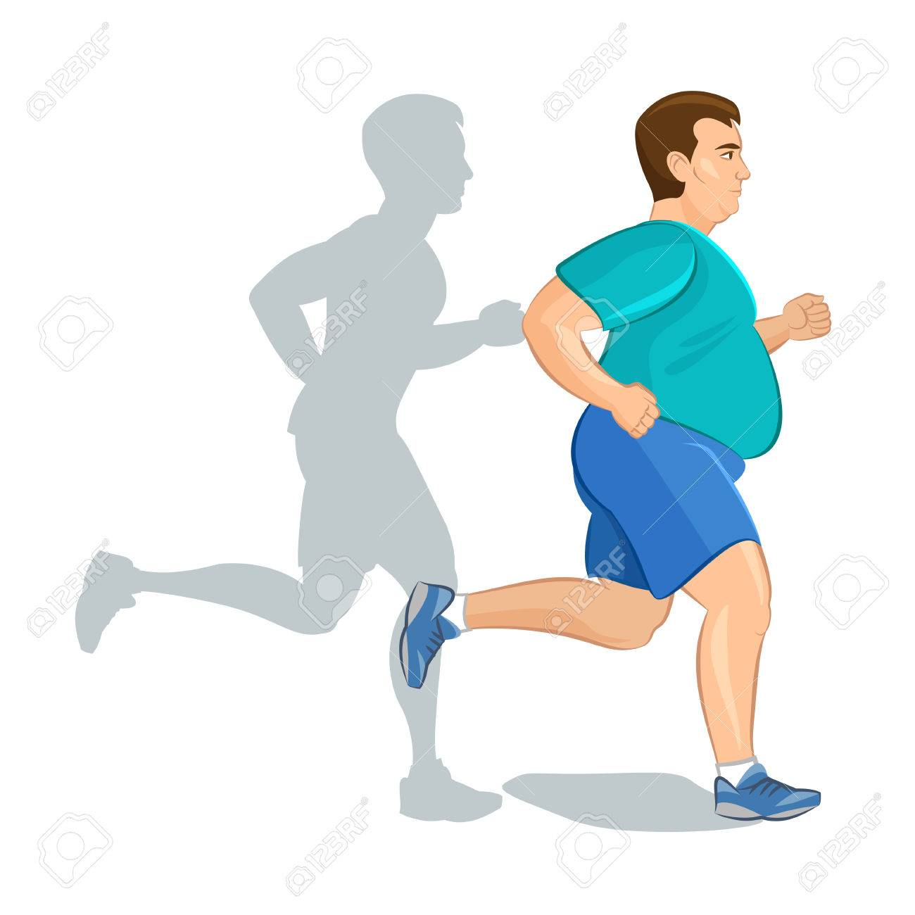 Illustration of a fat cartoon man jogging, weight loss concept, cardio training, health conscious concept running man, before and after - 46535901