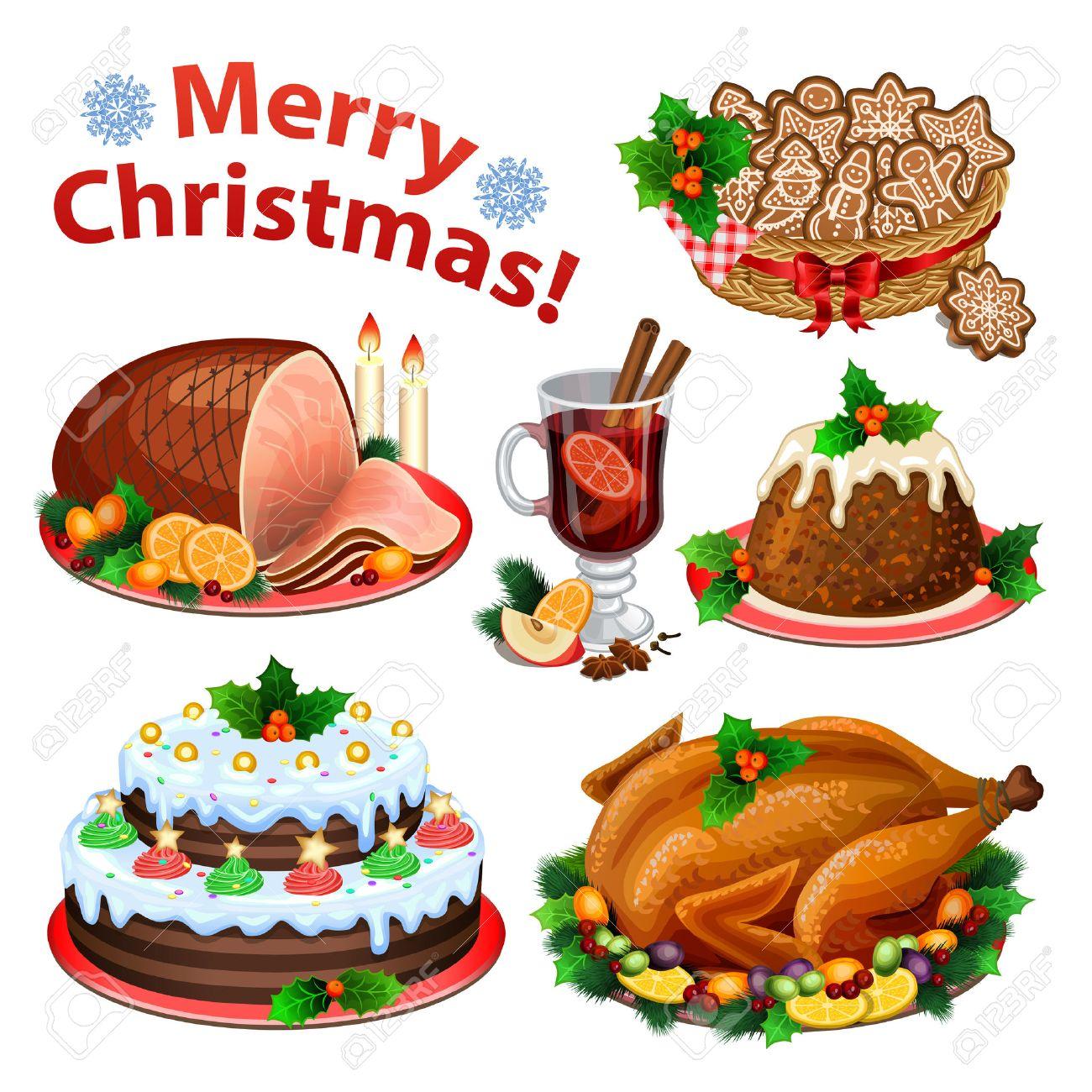 conjunto de iconos de dibujos animados para la cena de navidad comida tradicional de navidad