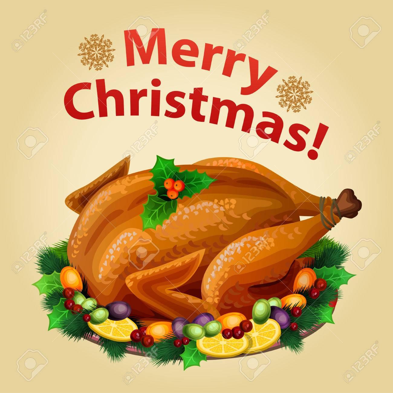 Weihnachten Die Türkei Auf Platte Mit Beilage, Traditionelle ...
