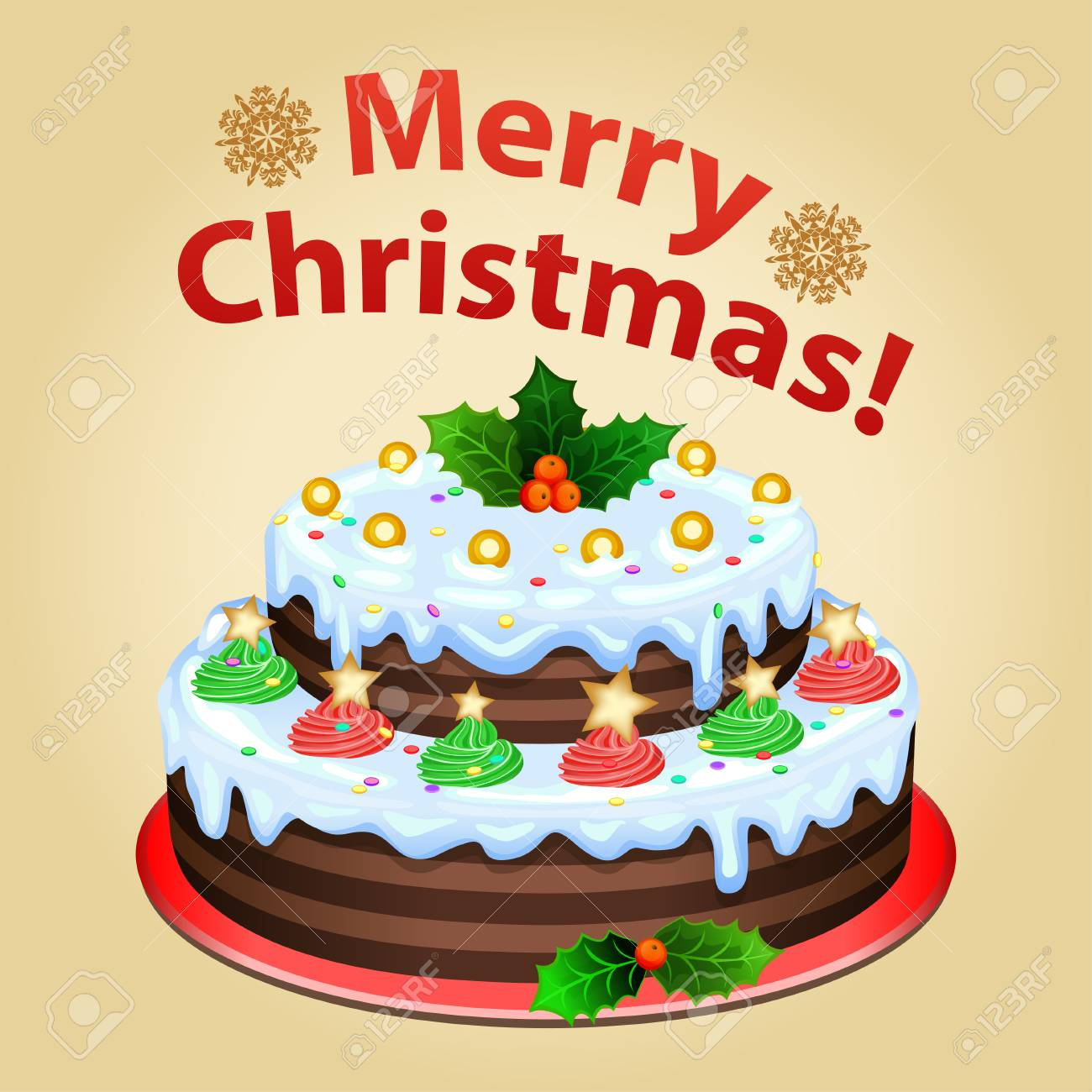 christmas cake on platter with christmas decorations traditional christmas dessert stock vector 48780348