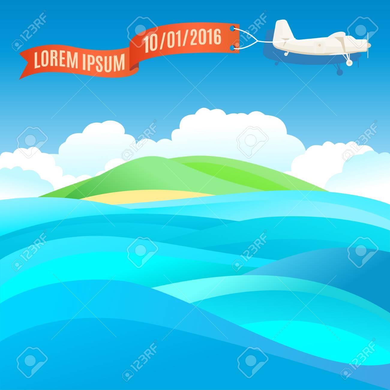 Fliegen Jahrgang Flugzeug Mit Banner Und Ozean, Meer Landschaft ...