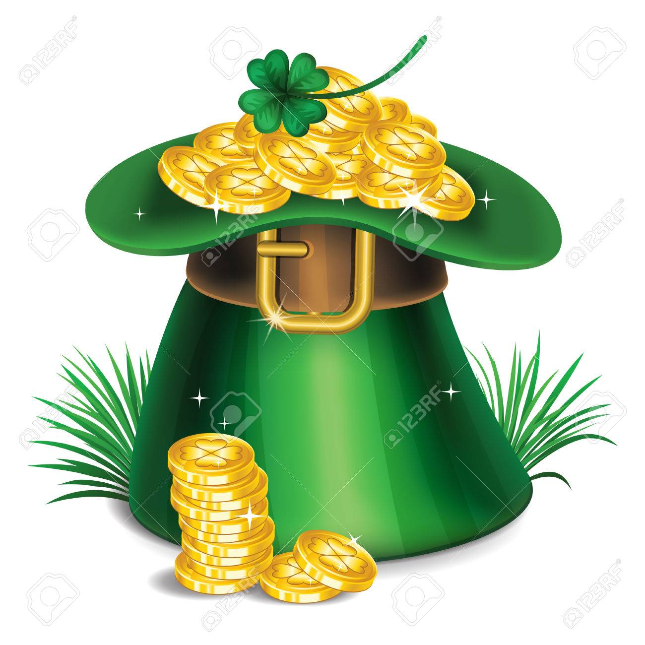St Patricks Day Green Leprechaun Hat With Clover And Gold Coins