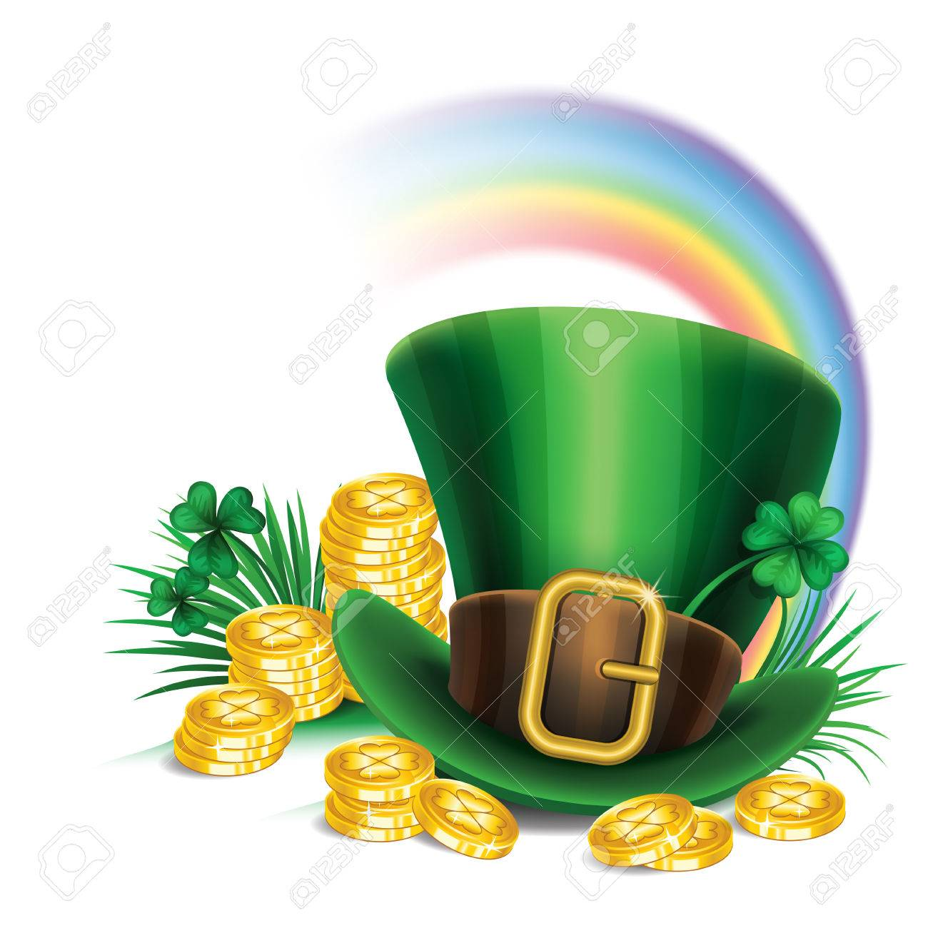 St Patricks Day Green Leprechaun Hat With Clover Gold Coins And Rainbow
