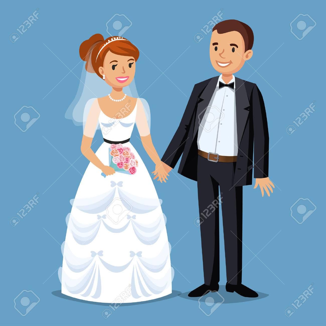 Cute Bride and groom, Wedding Party set illustration. Cartoon Wedding people couple. Vector illustration - 53256203