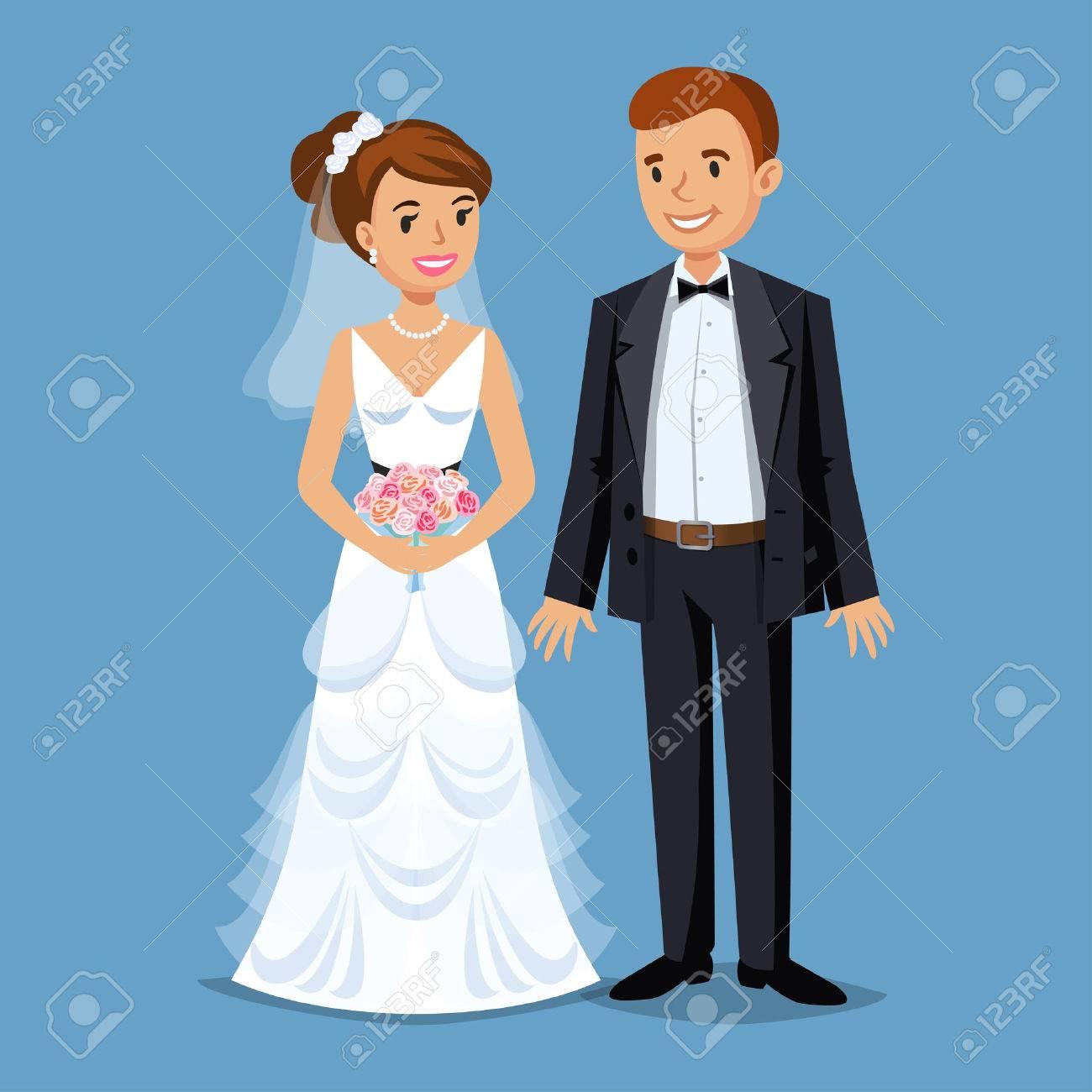 Cute Bride and groom, Wedding Party set illustration. Cartoon Wedding people couple. Vector illustration - 53256204