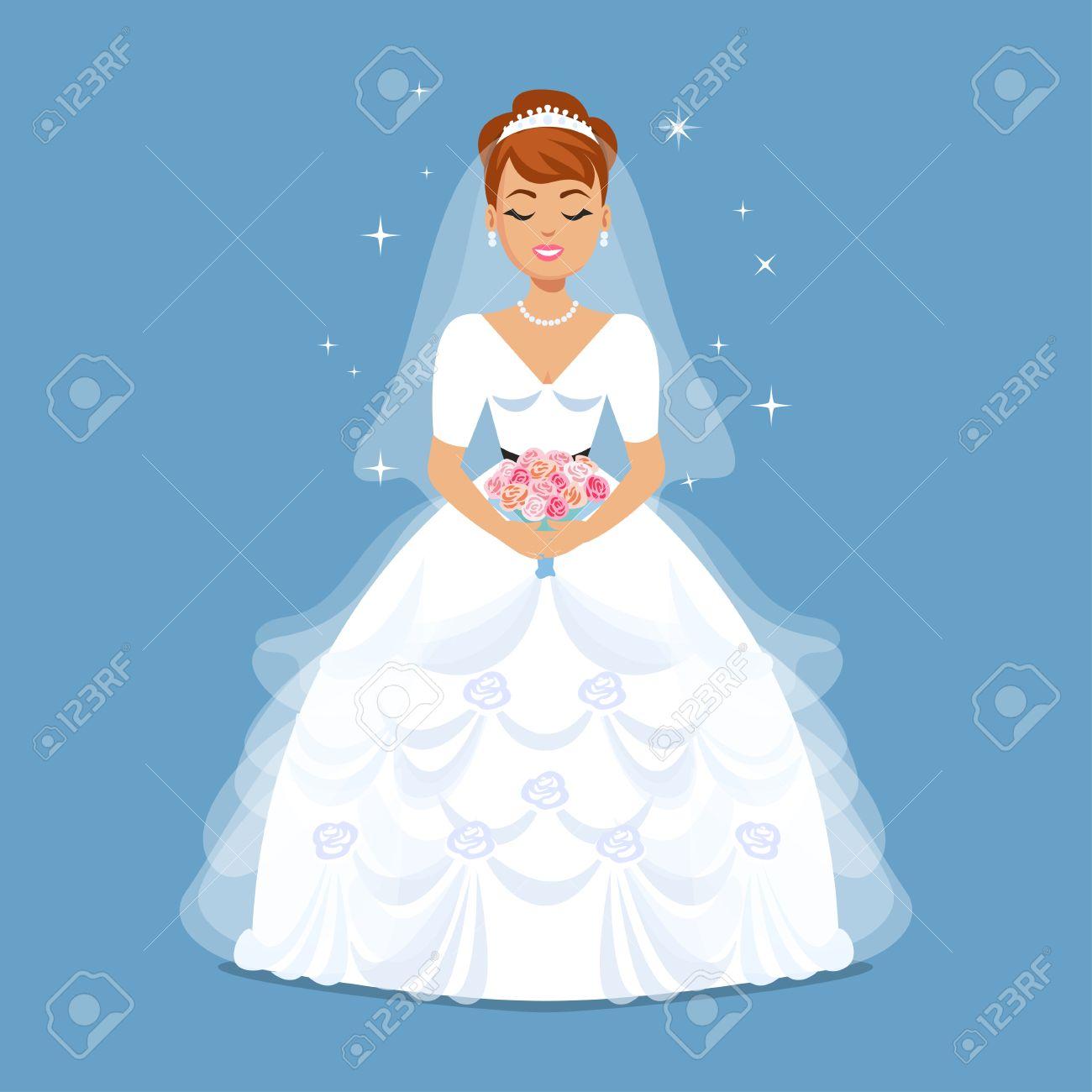 Elegant Bride In Wedding Dress In Classic, Retro, Vintage Styles ...