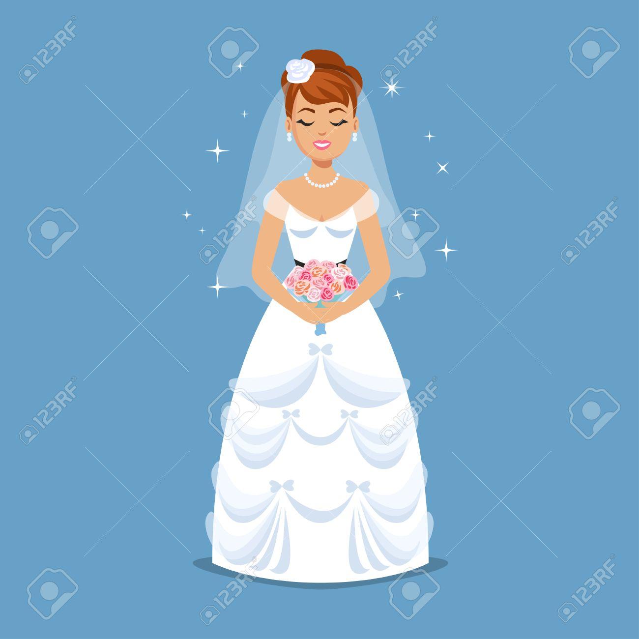 Elegant Bride In Wedding Dress In Classic Styles. Wedding Fashion ...