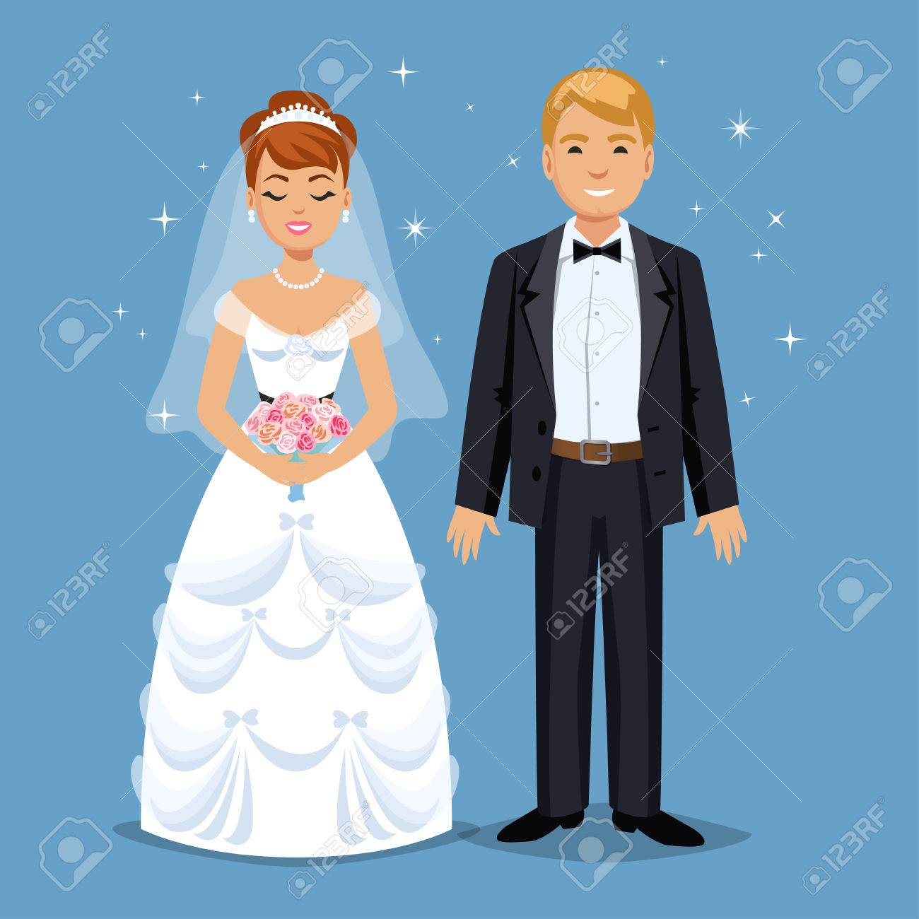 Cute Bride and groom, Wedding Party set illustration. Cartoon Wedding people couple. Vector illustration - 53256236