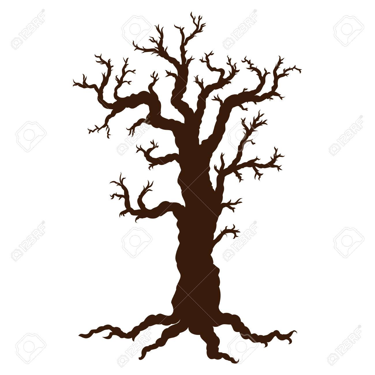 silhouette of halloween tree bare spooky scary halloween tree rh 123rf com Tree Silhouette Coner Border Clip Art Halloween