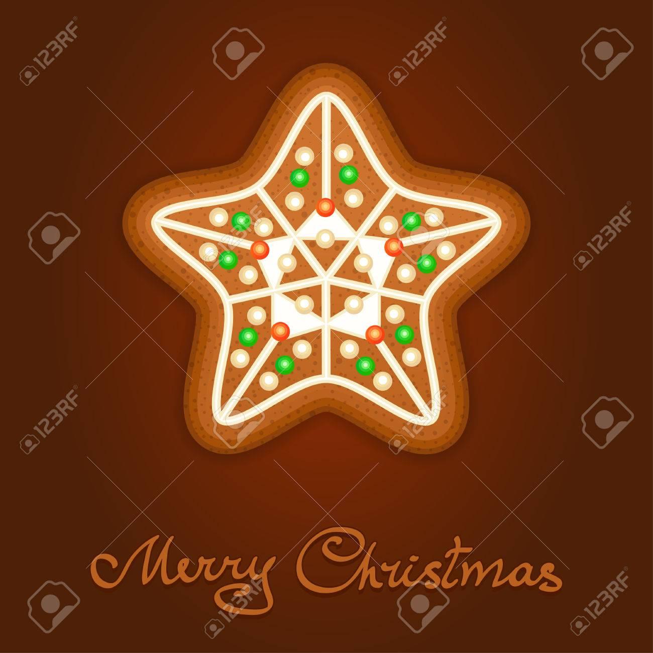 Estrella De Navidad De Pan De Jengibre Decorado Formación De Hielo Fiesta De La Galleta En Forma De Estrella De Navidad Para La Navidad Vacaciones