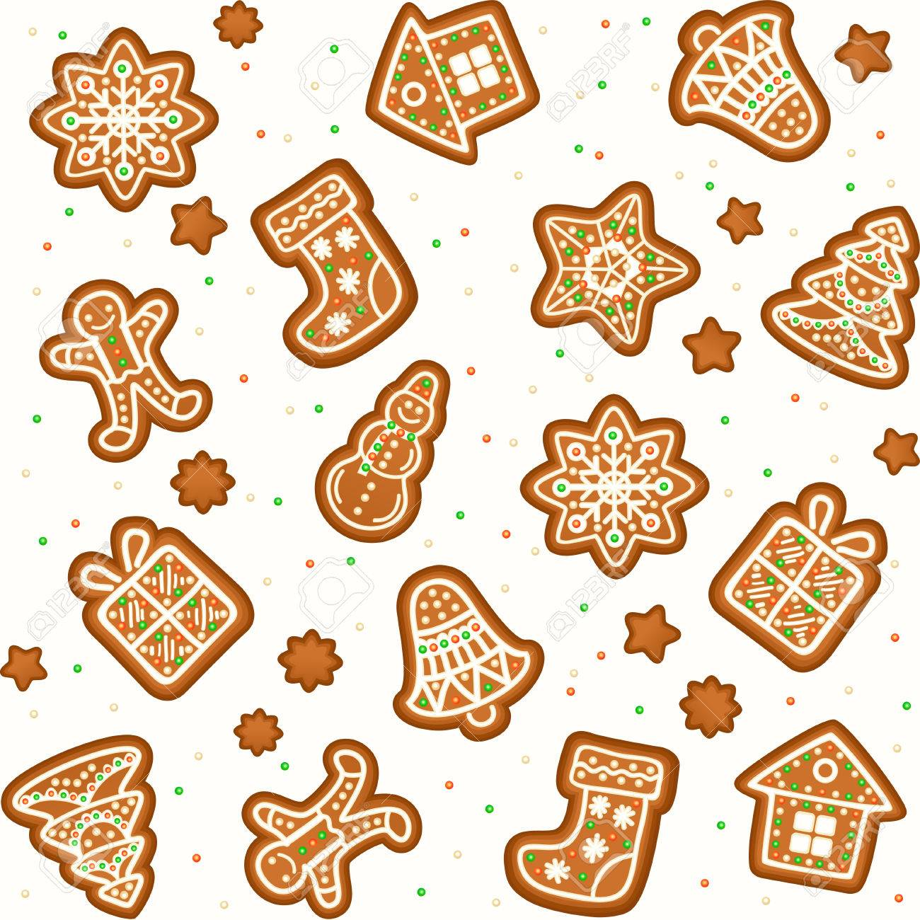 Seamless Pattern With Gingerbread Christmas Cookies Decorated ...