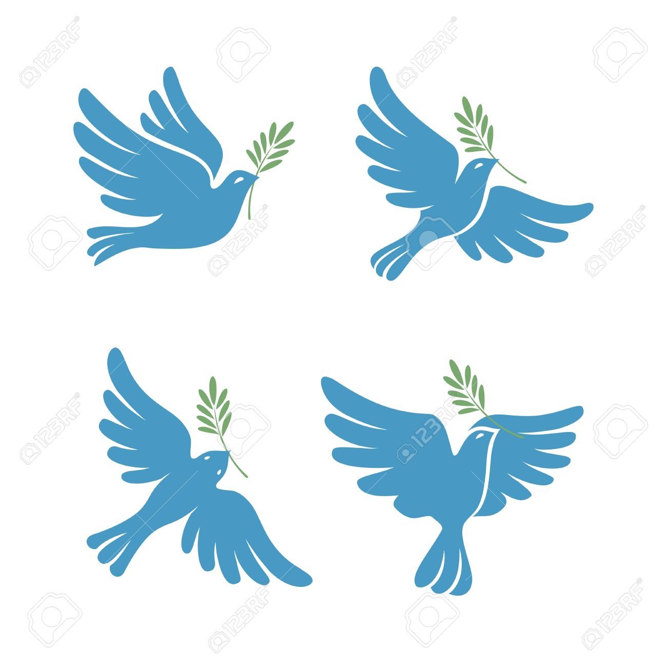 Flying dove vector sketch set  Dove of Peace  Silhouette of a