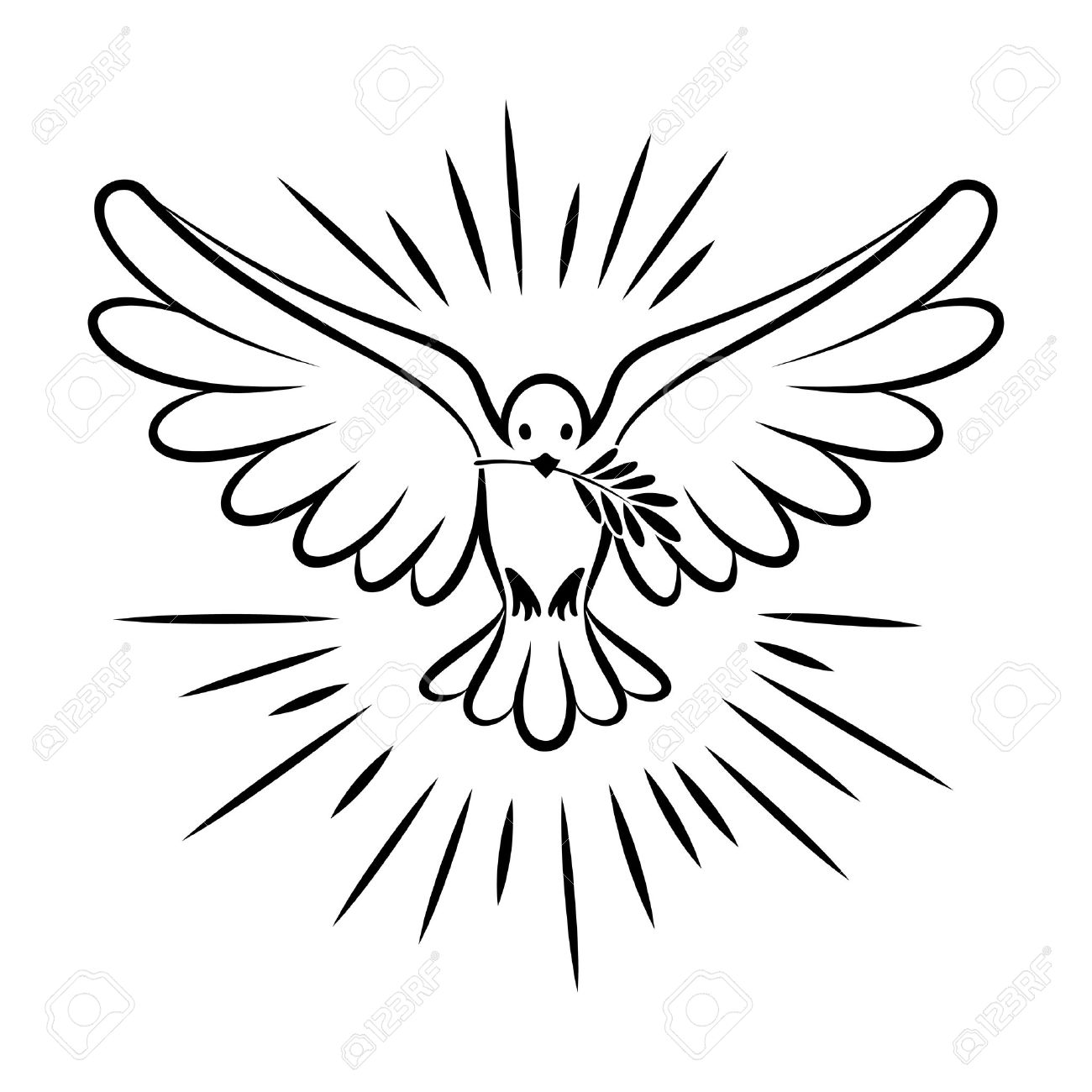 Flying dove vector sketch. Dove of Peace. Silhouette of a flying dove with olive branch. White dove, bird dove, white pigeon doodle. Vector illustration - 55874157