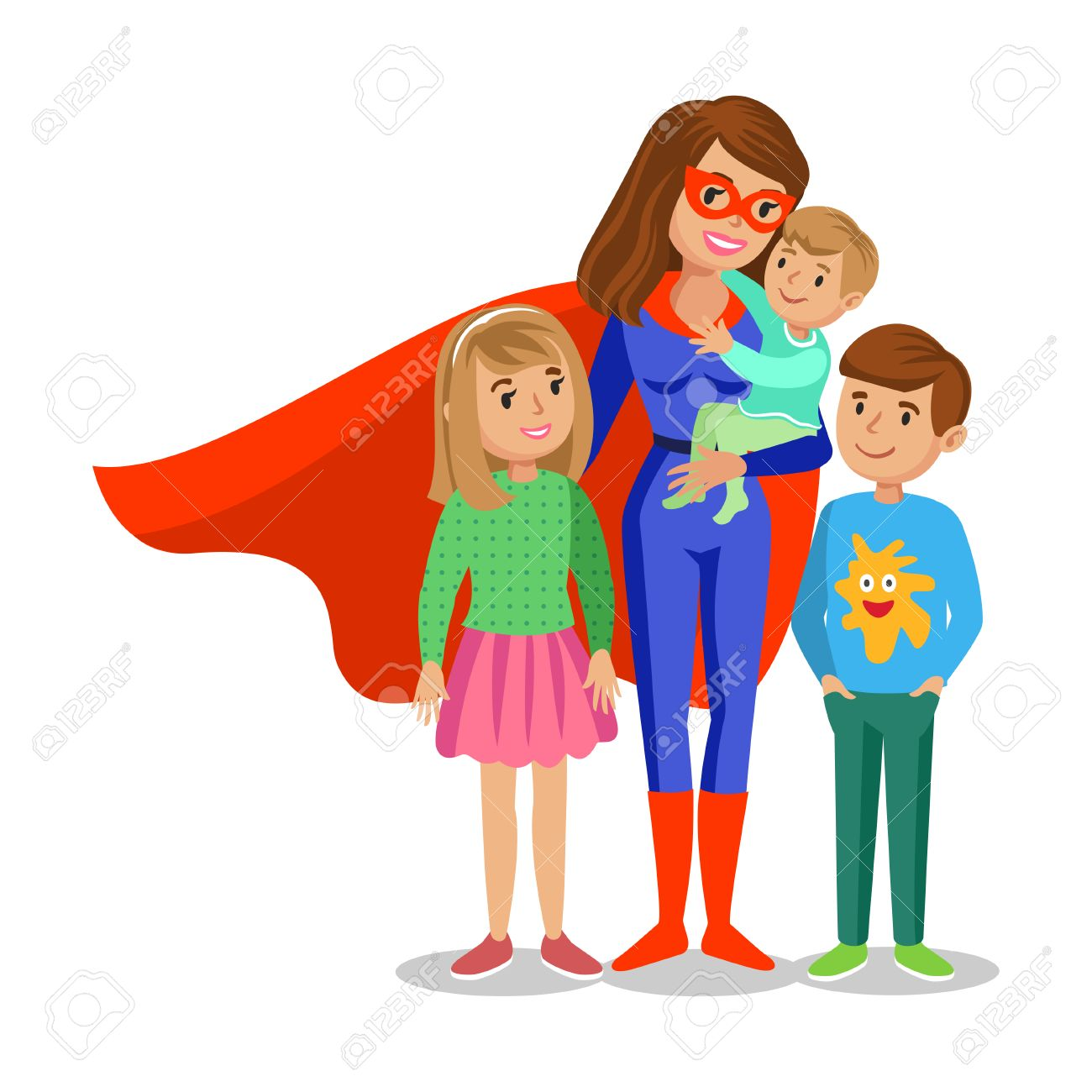 Cartoon Superhero Woman In Red Cape, Female Superhero, Mother ...