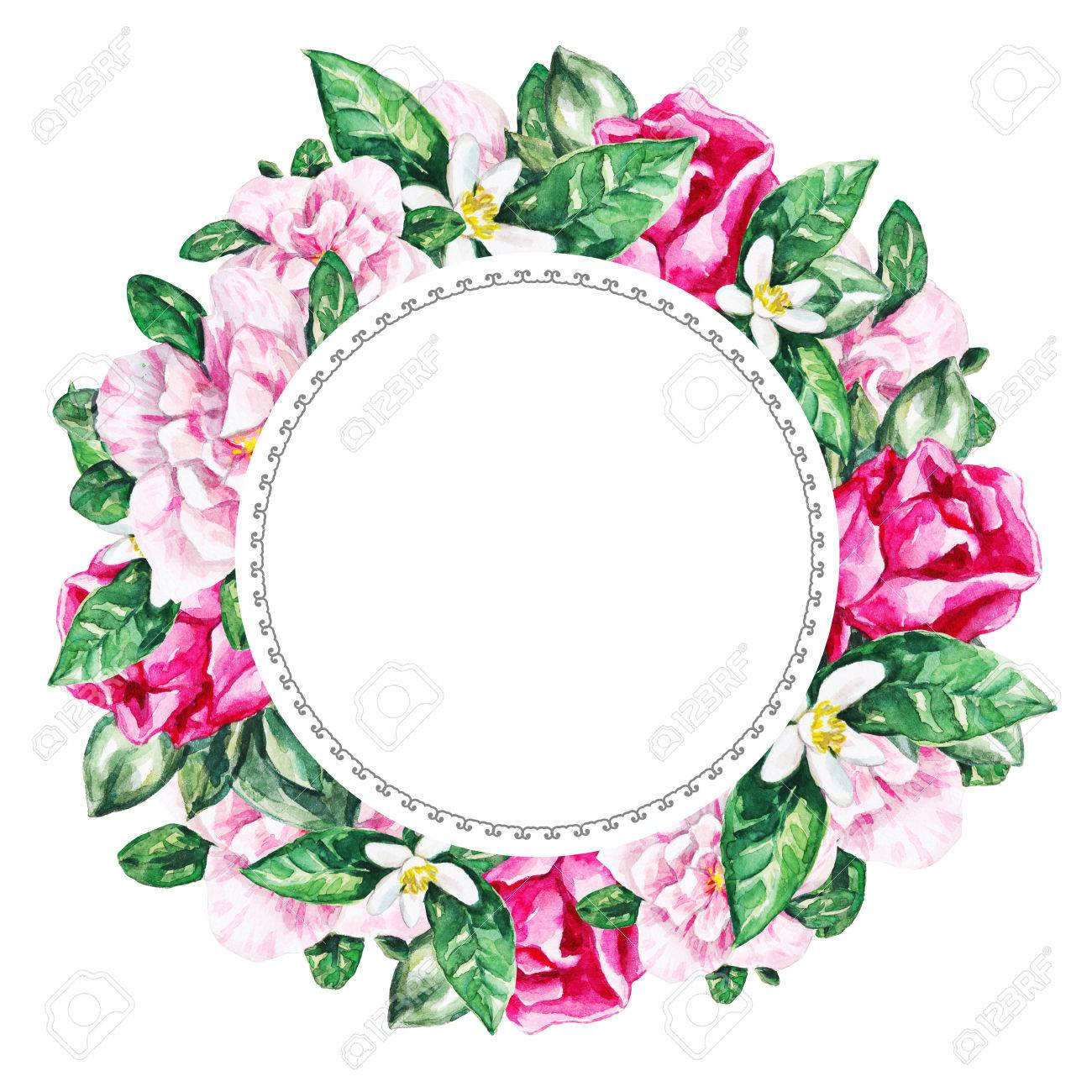 Watercolor Flower Frame Background Watercolour
