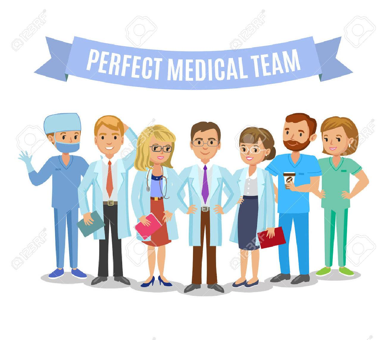 Medical team. Set of hospital medical staff. Doctors, nurses and surgeon. Healthcare and medical concept. Vector Illustration - 58062736