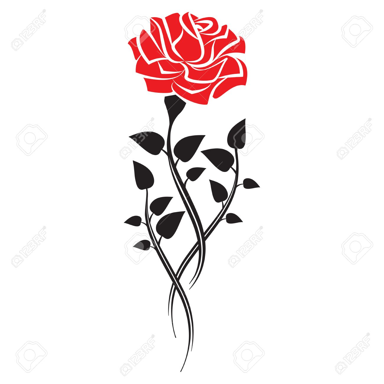 Black Silhouette Of Rose With Leaves Tattoo Style Rose Vector
