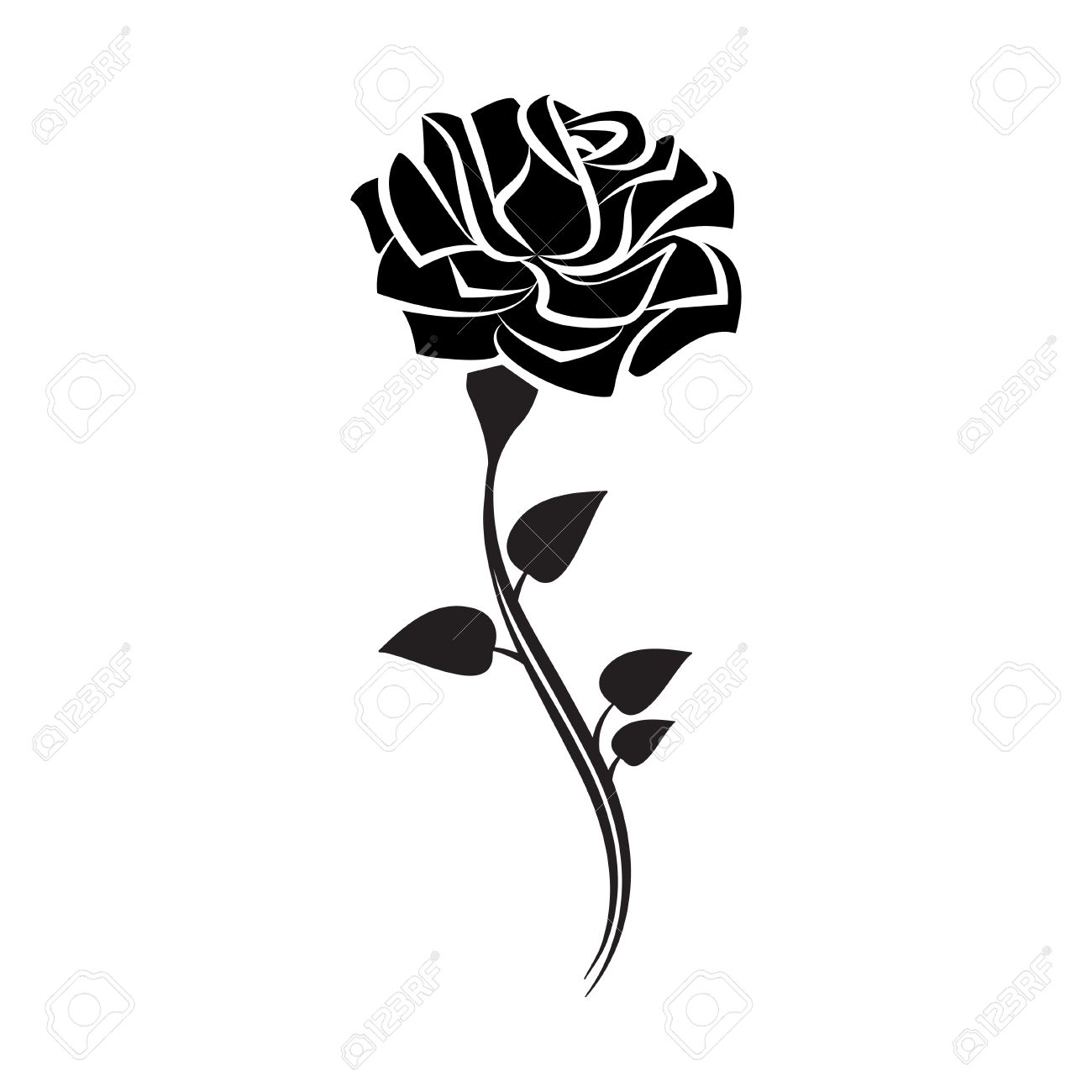 black silhouette of rose with leaves tattoo style rose vector rh 123rf com rose vector clip art rose vector file