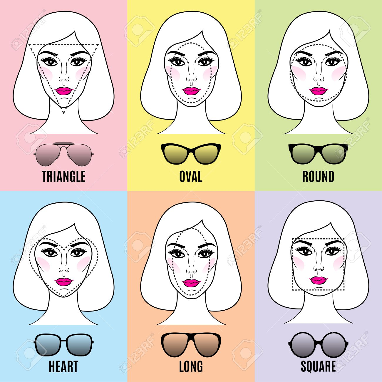 7057cd433b Vector - Womens Sunglasses Shapes for different face shapes. Various types  of female faces in sunglasses. Vector illustration