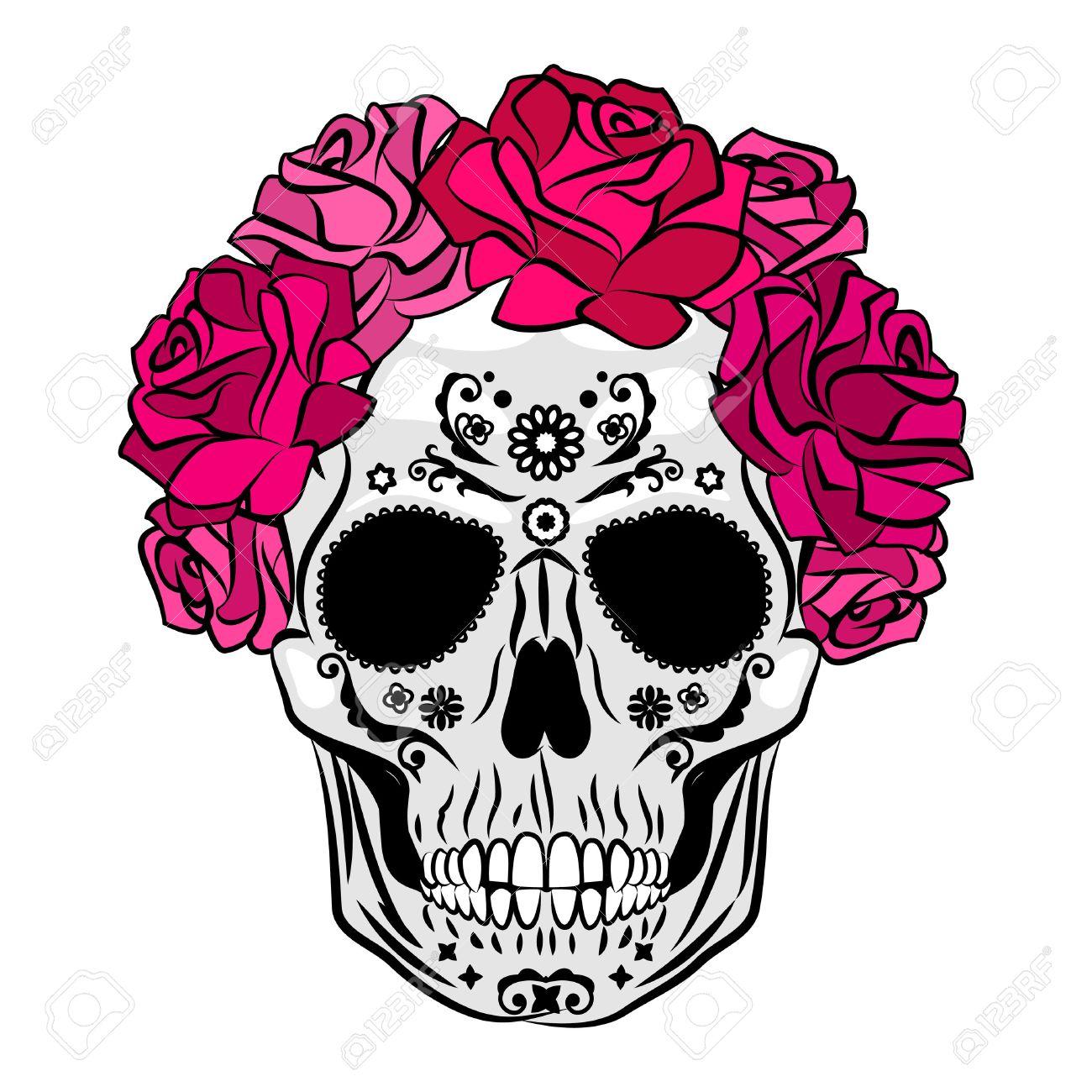 human skull with makeup mexican catrina skull makeup senorita rh 123rf com vector cardinal victor catering israel