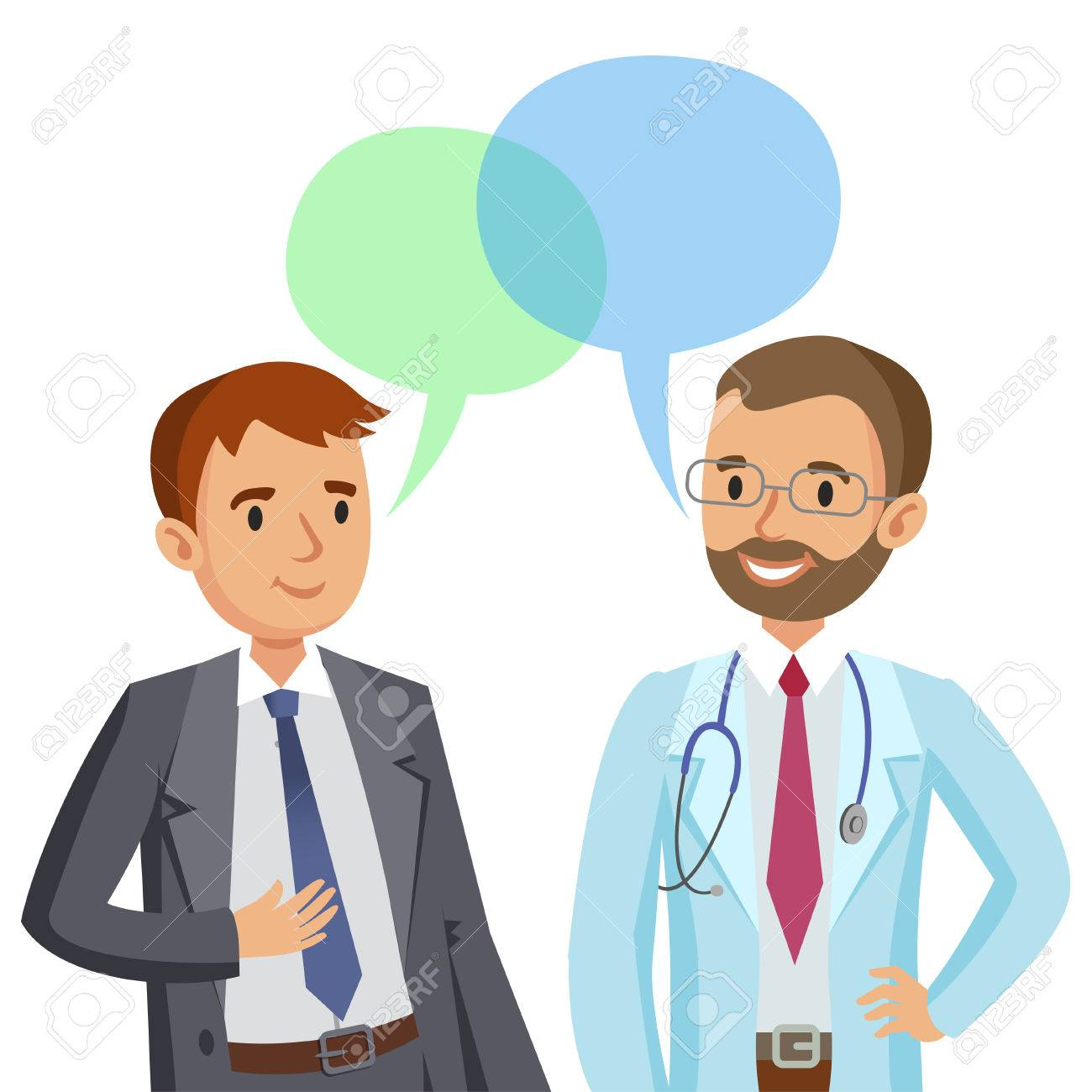 Doctor and patient. Man talking to physician. Vector illustration - 62275496