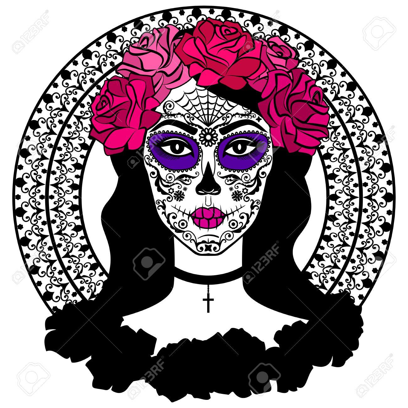 Girl With Sugar Skull Makeup Calavera Catrina Mexican Day Of