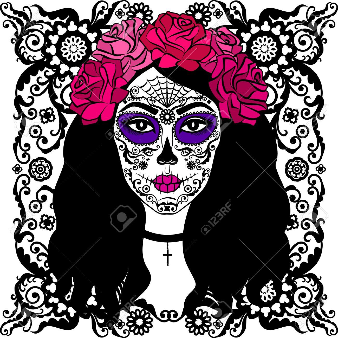 girl with sugar skull makeup calavera catrina mexican day of rh 123rf com victor catering israel vector cantina