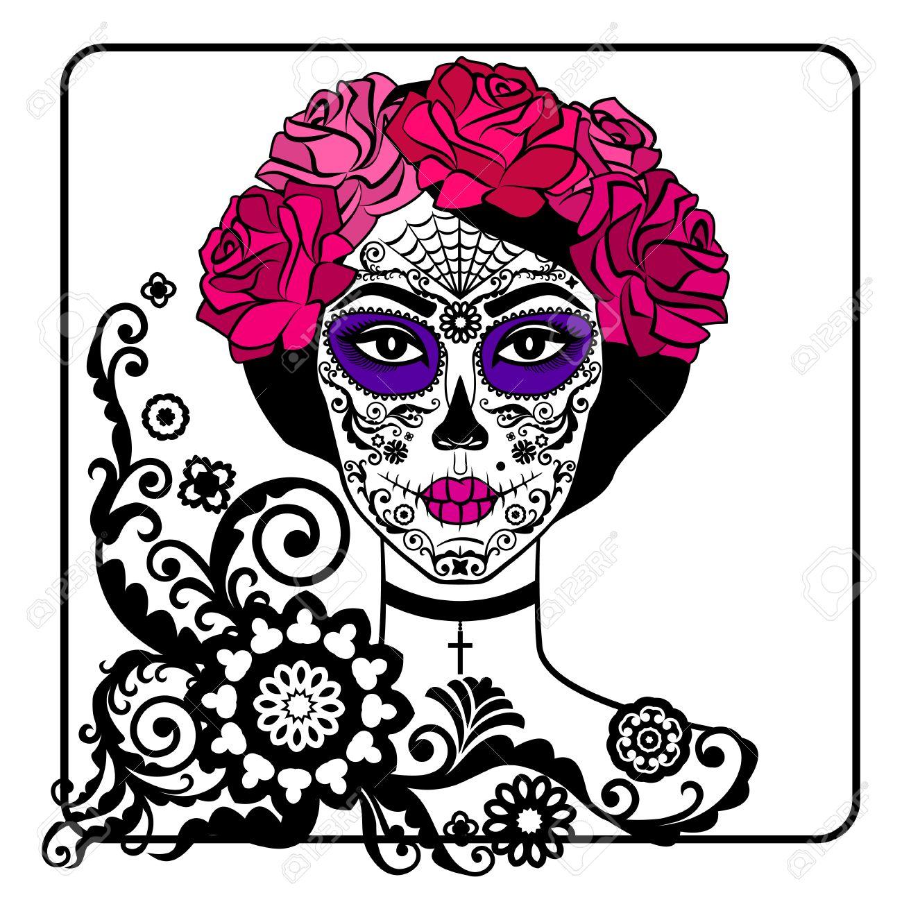 girl with sugar skull makeup calavera catrina mexican day of rh 123rf com vector cantina vector caricature