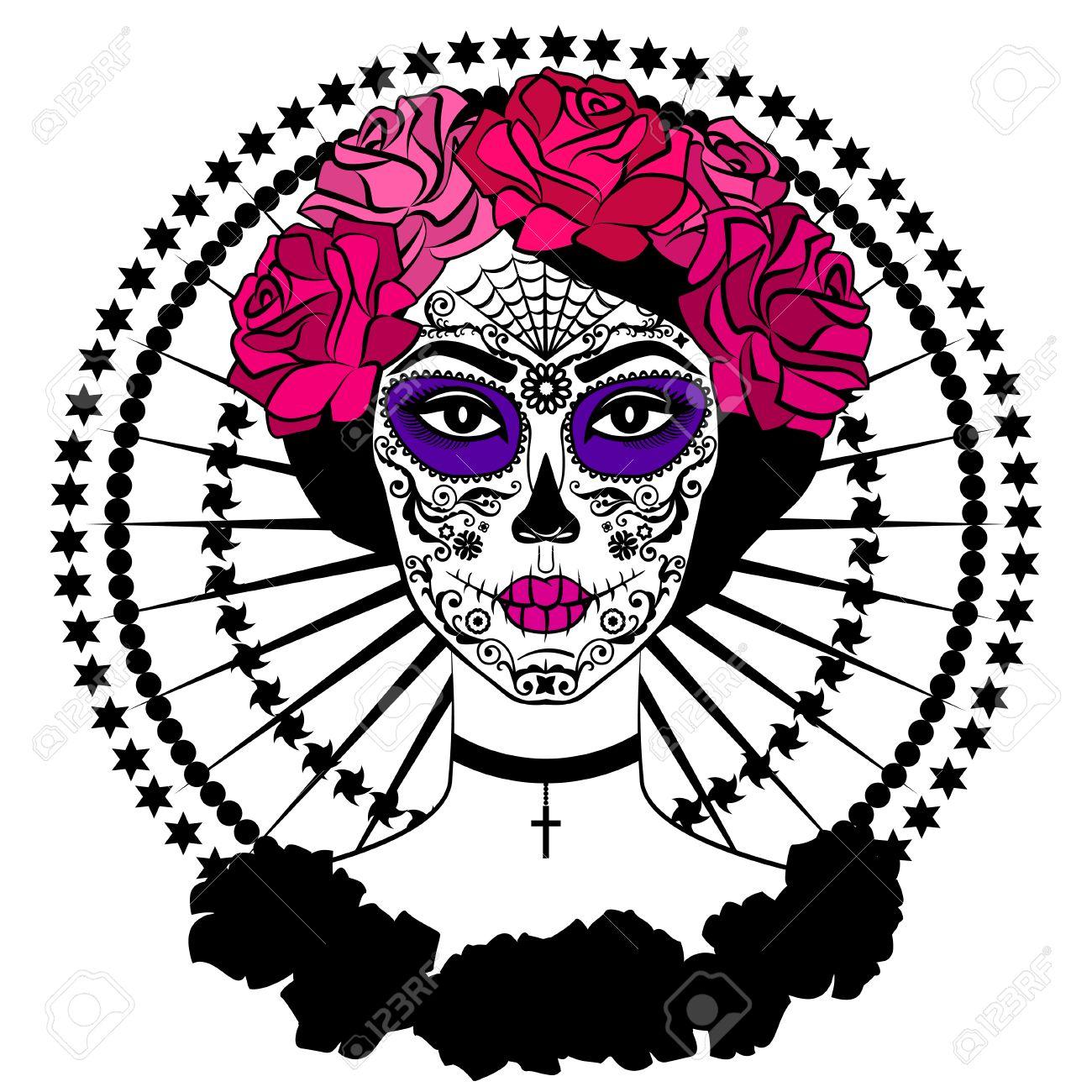 Mädchen Mit Zucker Schädel Make-up. Calavera Catrina. Mexikanischer ...