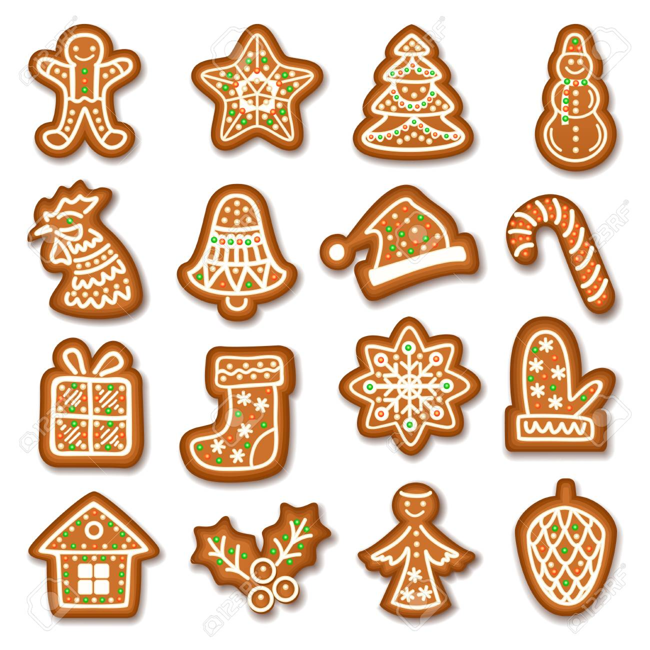 Set Of Gingerbread Christmas Cookies Decorated Icing Holiday