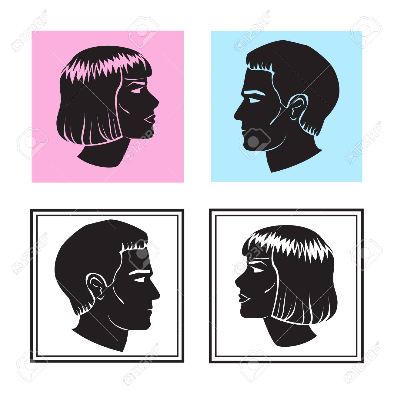 Man And Woman Face Profile Male And Female Silhouette Vector Royalty Free Cliparts Vectors And Stock Illustration Image 72279394
