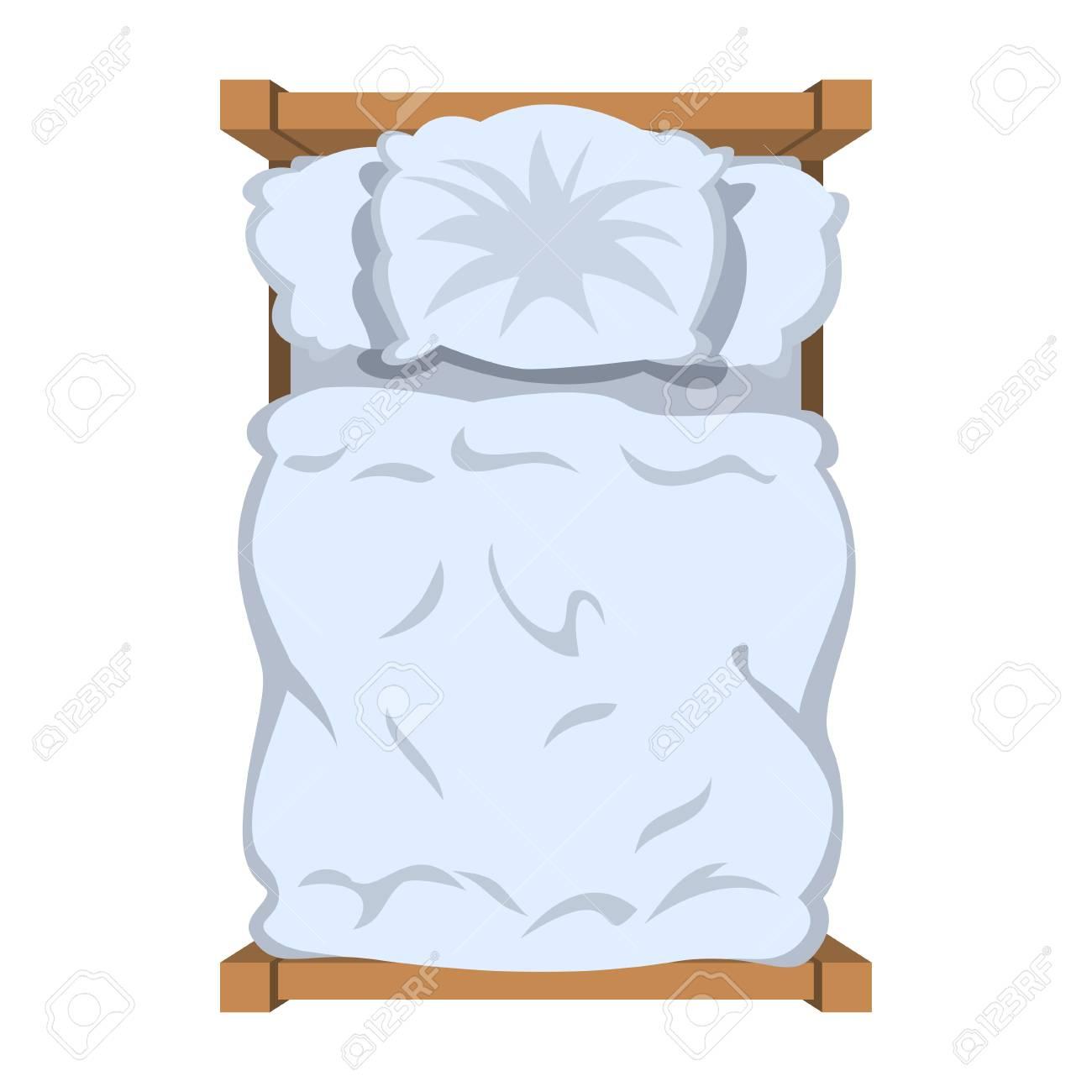 上が白いリネンベッドを見る白い寝具毛布枕ベクトル図の