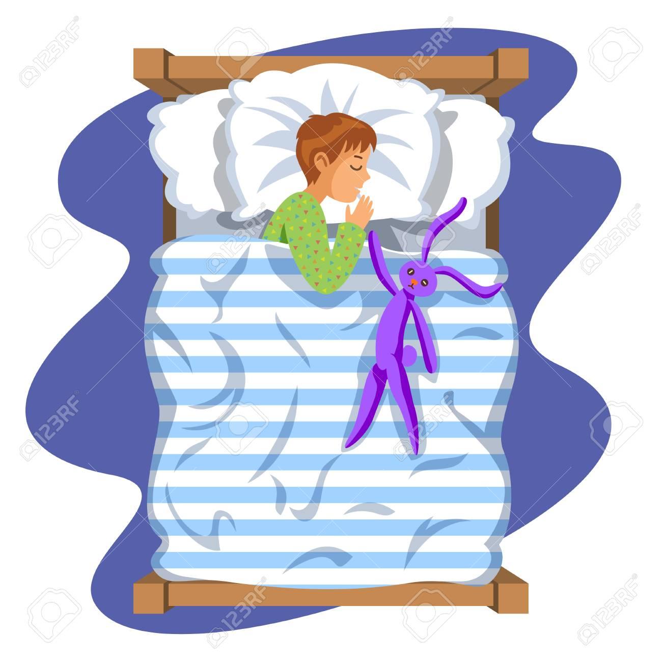 Boy Sleep Bedtime In His Bedroom Bed With Toy Bunny. Cartoon ...