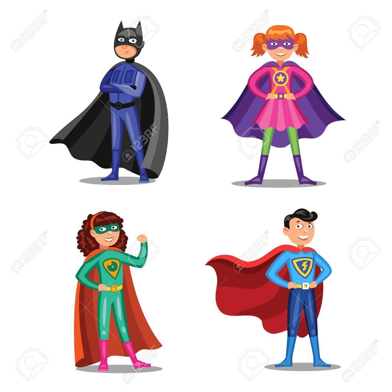 Conjunto De Superhéroes De Dibujos Animados. Niños Y Niñas Con ...