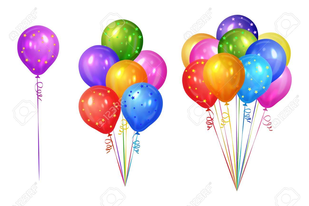 Bouquets De Ballons D Helium Colores Isoles Sur Fond Blanc Decorations De Fete Pour Anniversaire Anniversaire Celebration Illustration Vectorielle Clip Art Libres De Droits Vecteurs Et Illustration Image 76599453