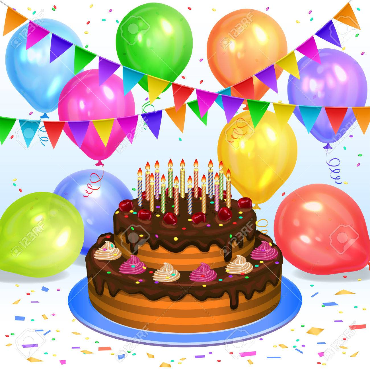 Birthday Cake With Candles Colorful Balloons Confetti And Flags Garlands Decoration For