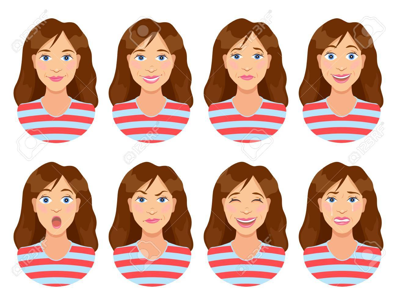 Women S Emotions Female Face Expression Calm Smile Sadness Royalty Free Cliparts Vectors And Stock Illustration Image 81150536