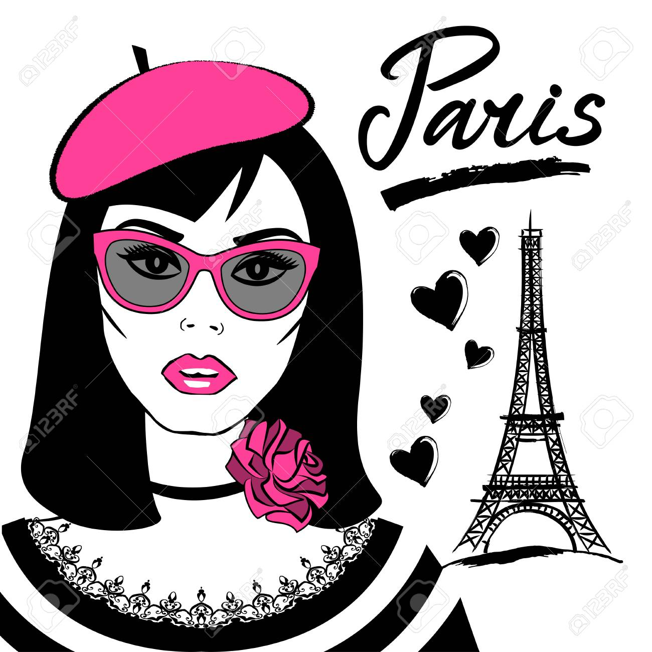e2fdf90f5a26b Beautiful girl in sunglasses with symbol France-Eiffel tower. Fashion young  woman and French