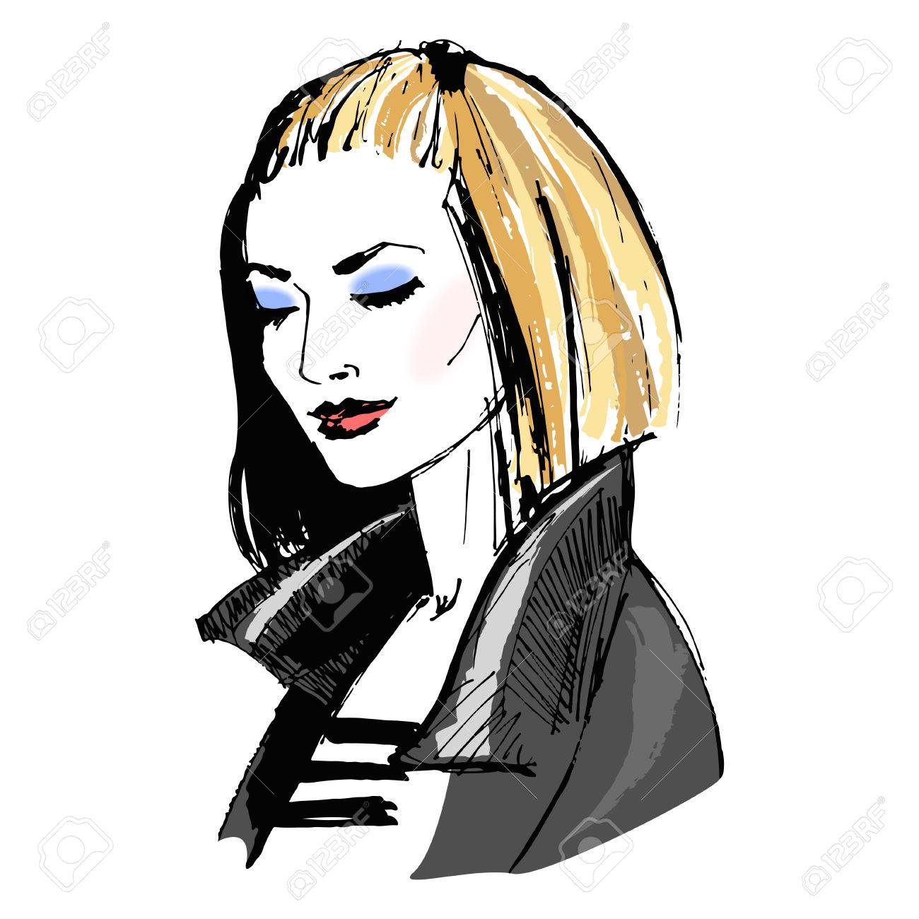 Beautiful girl with makeup in leather jacket portrait of fashion young woman fashion sketch