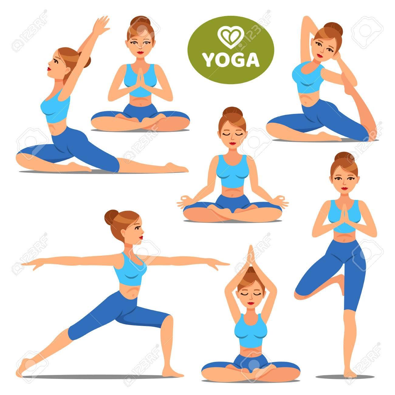 Conjunto de niñas en diversas poses de yoga. Mujer yoga plantea el  entrenamiento. Ejercicio 6526648a114f