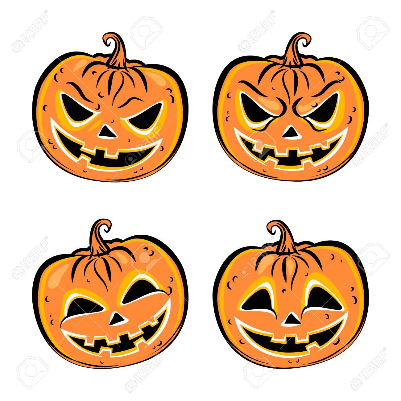 Facce Zucche Di Halloween.Set Di Quattro Zucche Di Halloween Raccolta Di Emozioni Facce Di Zucche Spaventose E Divertenti Illustrazione Vettoriale