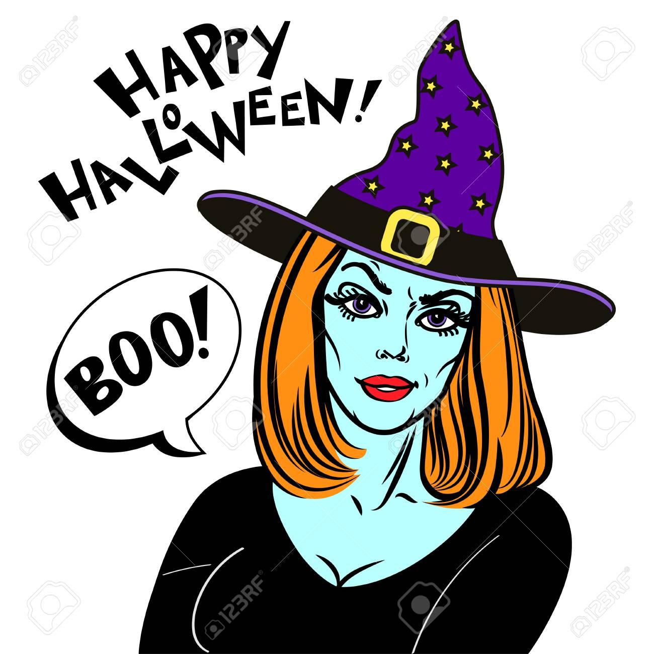 Frau In Halloween Kostüm Und Hexenhut Hexe Und Text Glückliches