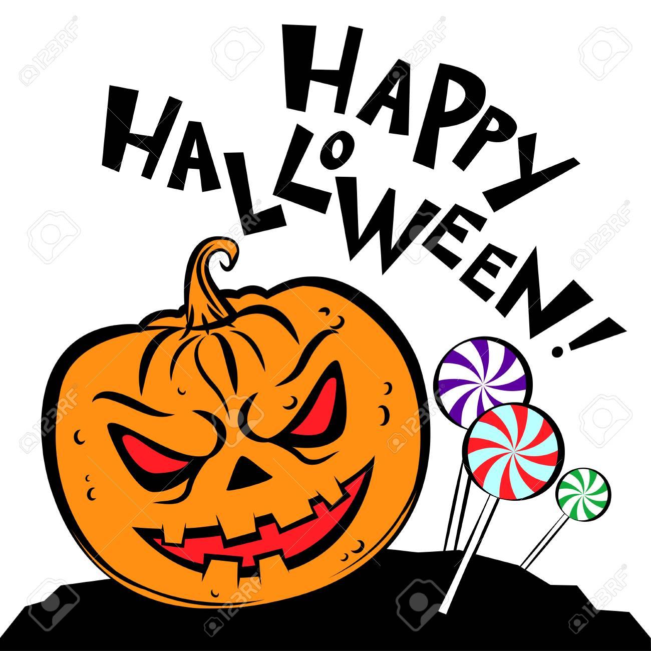 Halloween Kurbis Sussigkeiten Und Text Happy Halloween Halloween