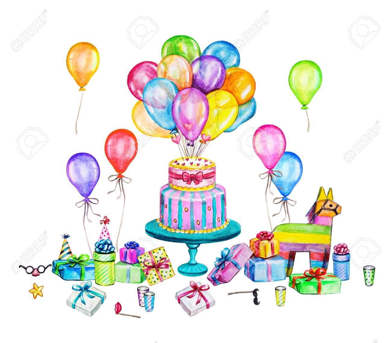 水彩の誕生日パーティー イラスト手の描き下ろしお祝いオブジェクト