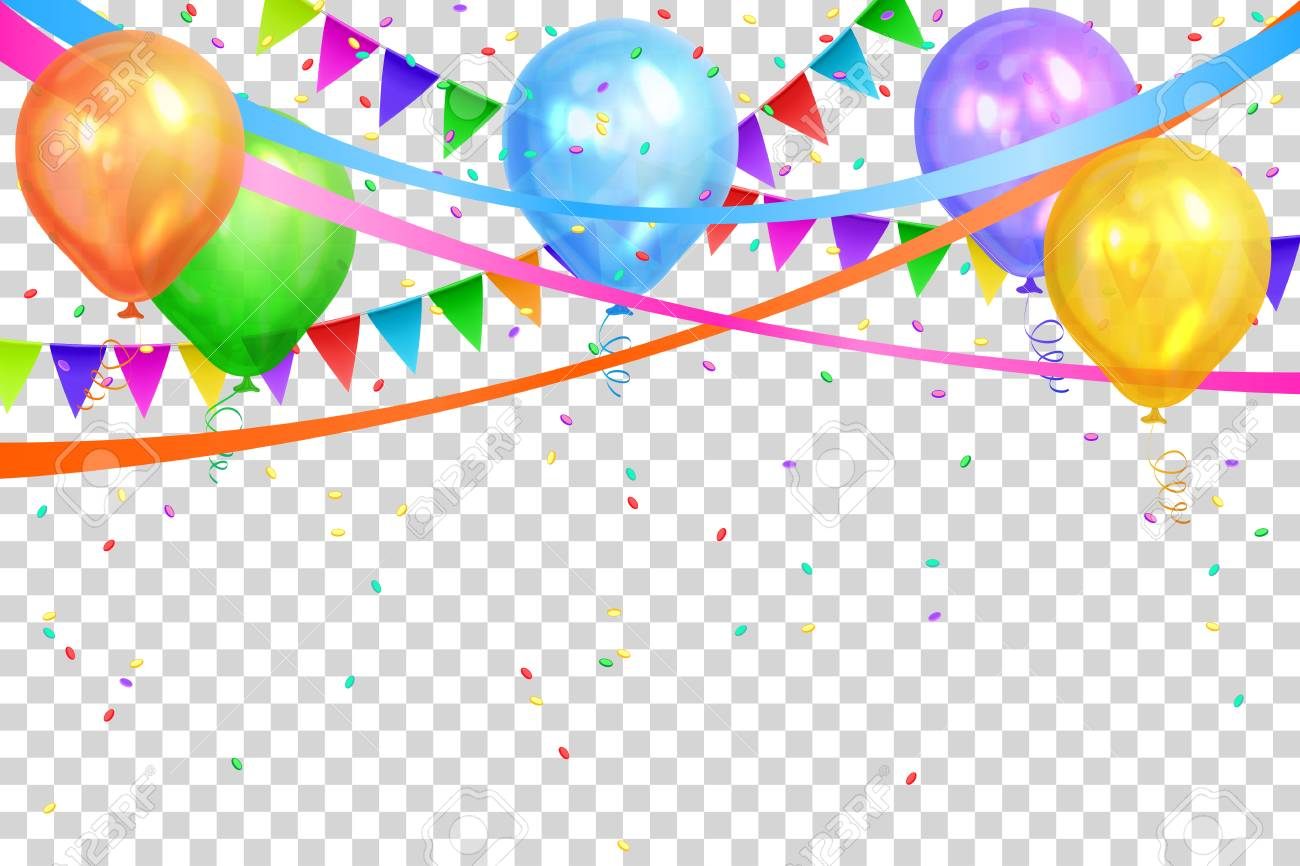 Happy Birthday design. Border of realistic colorful helium balloons and flags garlands. Isolated on transparent background. Party decoration frame for birthday, anniversary, celebration. Vector illustration. - 95664866