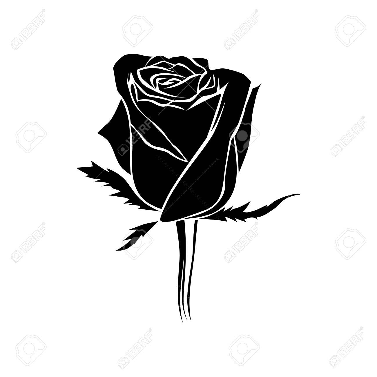 Vector Black Rosebud Silhouette Logo Tattoo Or Emblem Of Rose