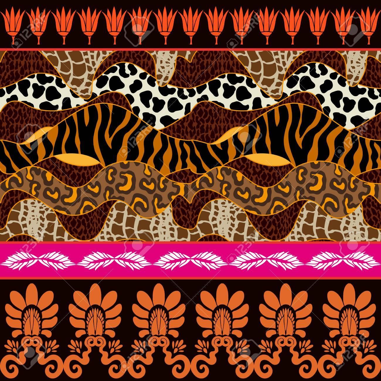 Taches De Zebre Et De Leopard Boutons De Palmette Et Fleurs De