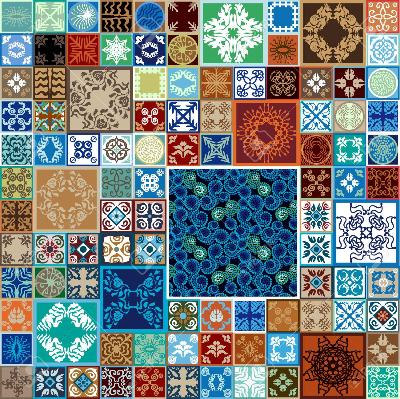 Colorful Vintage Tiles With Moroccan Floral And Geometrical Patterns ...