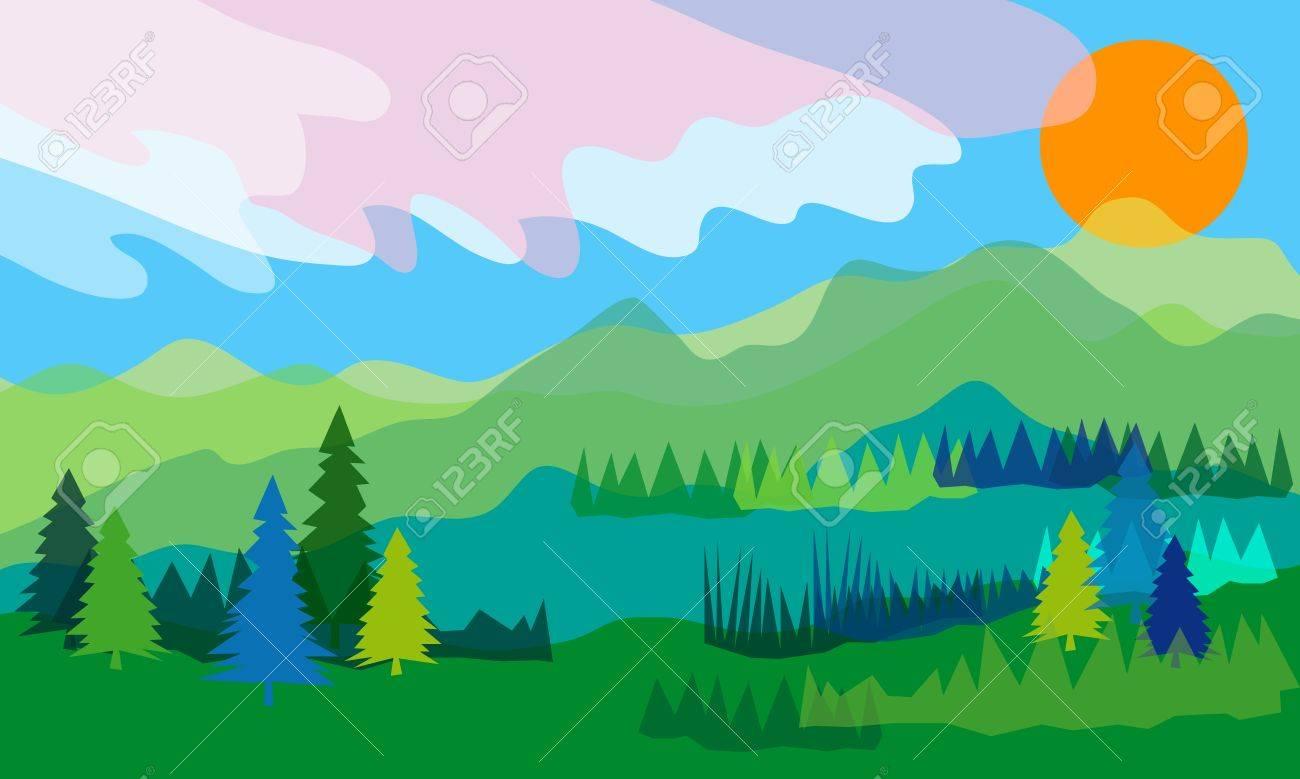 Beautiful Mountain Scenery Clip Art