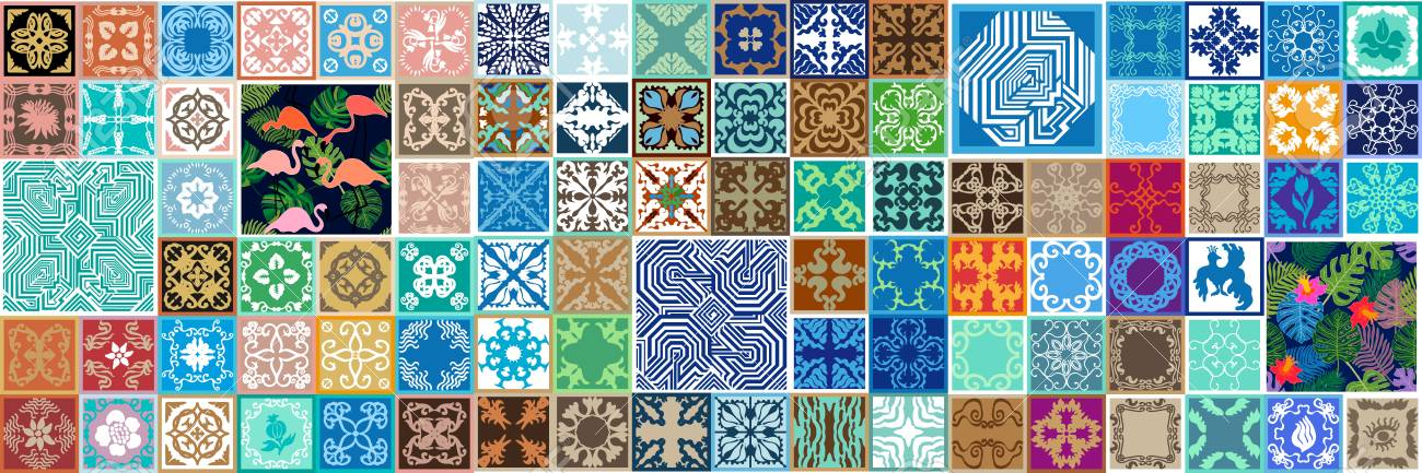 Large Set Of Ceramic Tiles With Floral And Geometric Patterns Beauteous Spanish Patterns